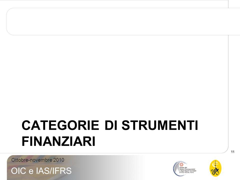 11 Ottobre-novembre 2010 OIC e IAS/IFRS CATEGORIE DI STRUMENTI FINANZIARI