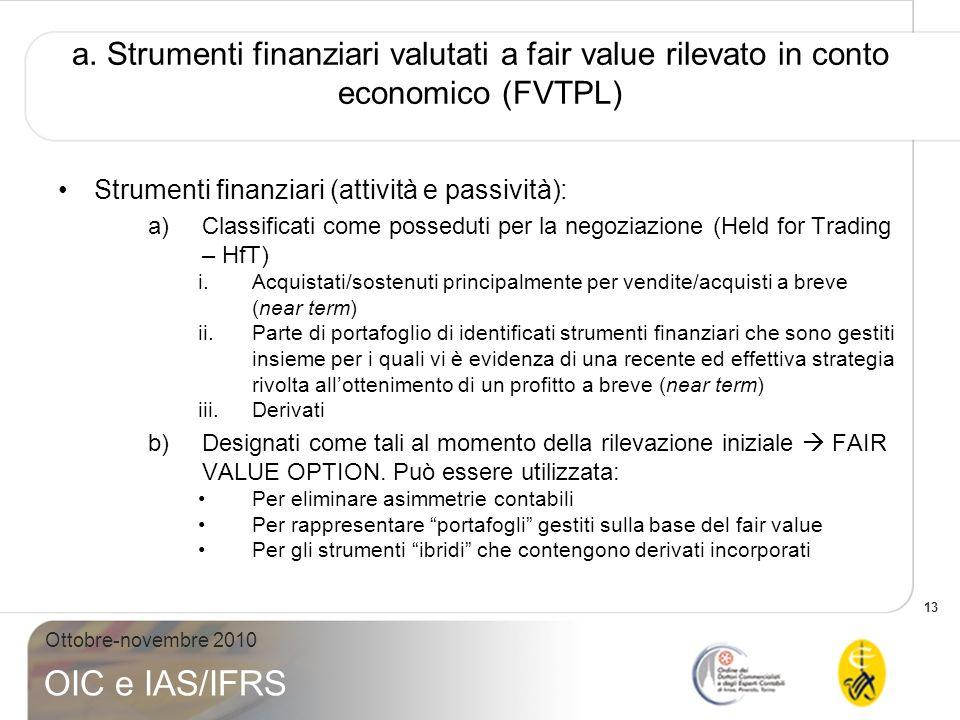 13 Ottobre-novembre 2010 OIC e IAS/IFRS a. Strumenti finanziari valutati a fair value rilevato in conto economico (FVTPL) Strumenti finanziari (attivi