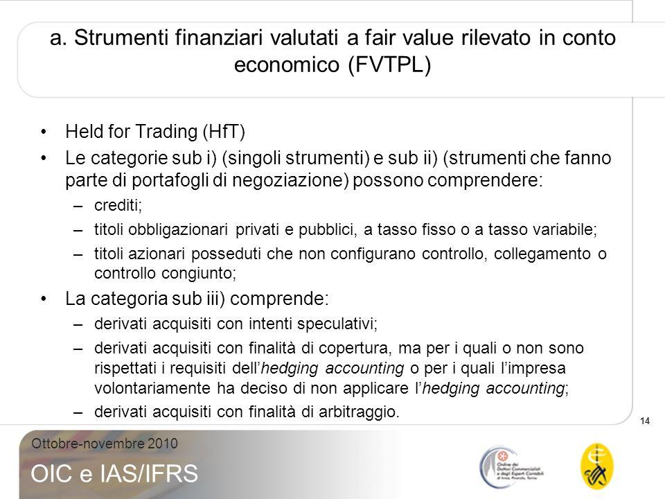 14 Ottobre-novembre 2010 OIC e IAS/IFRS a. Strumenti finanziari valutati a fair value rilevato in conto economico (FVTPL) Held for Trading (HfT) Le ca