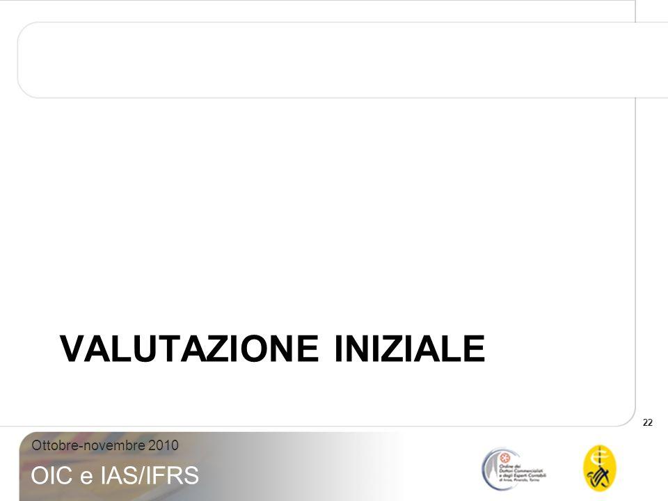 22 Ottobre-novembre 2010 OIC e IAS/IFRS VALUTAZIONE INIZIALE