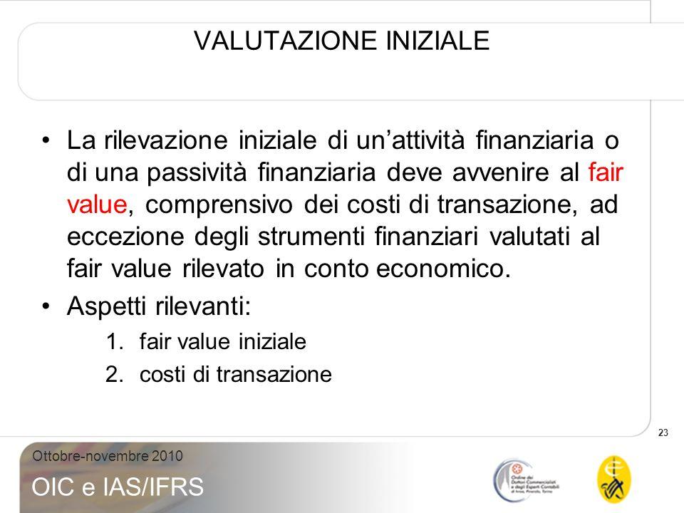 23 Ottobre-novembre 2010 OIC e IAS/IFRS VALUTAZIONE INIZIALE La rilevazione iniziale di unattività finanziaria o di una passività finanziaria deve avv