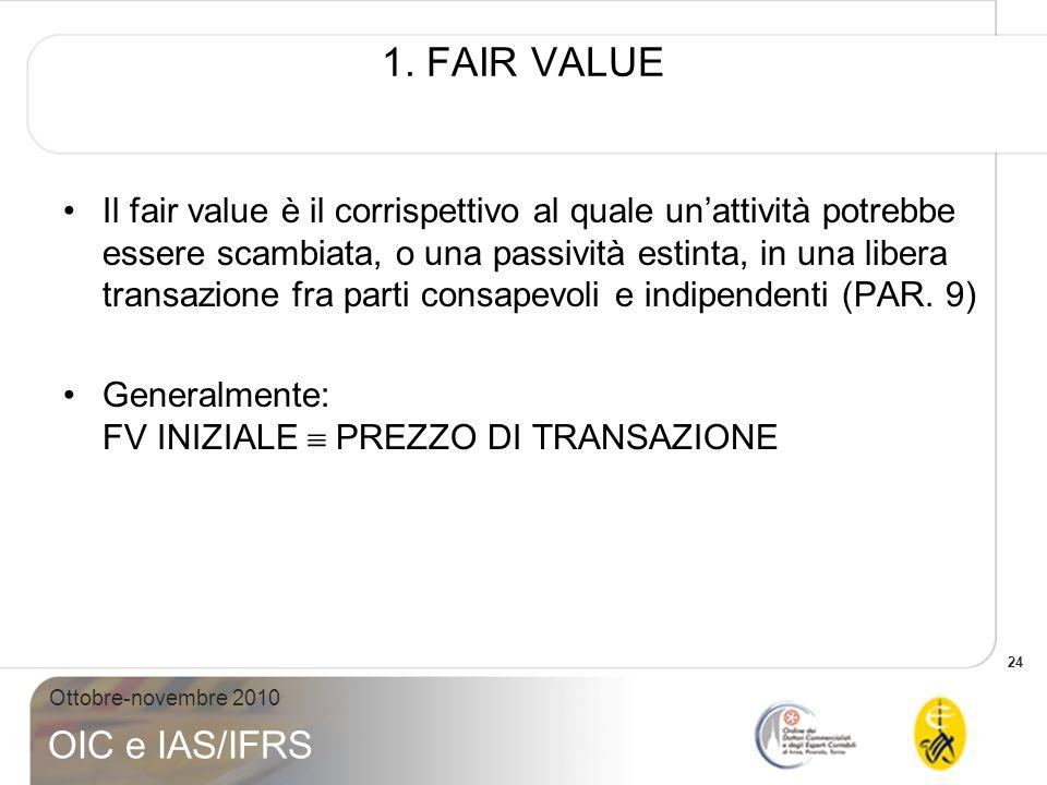 24 Ottobre-novembre 2010 OIC e IAS/IFRS 1. FAIR VALUE Il fair value è il corrispettivo al quale unattività potrebbe essere scambiata, o una passività
