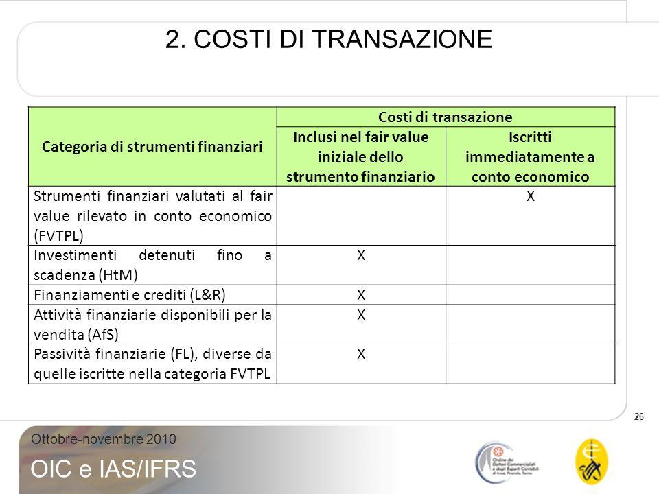 26 Ottobre-novembre 2010 OIC e IAS/IFRS 2. COSTI DI TRANSAZIONE Categoria di strumenti finanziari Costi di transazione Inclusi nel fair value iniziale