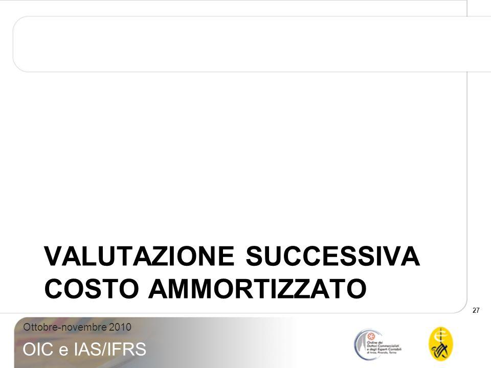 27 Ottobre-novembre 2010 OIC e IAS/IFRS VALUTAZIONE SUCCESSIVA COSTO AMMORTIZZATO