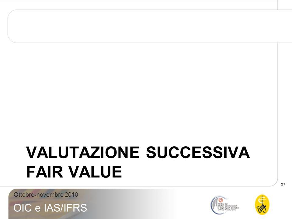 37 Ottobre-novembre 2010 OIC e IAS/IFRS VALUTAZIONE SUCCESSIVA FAIR VALUE