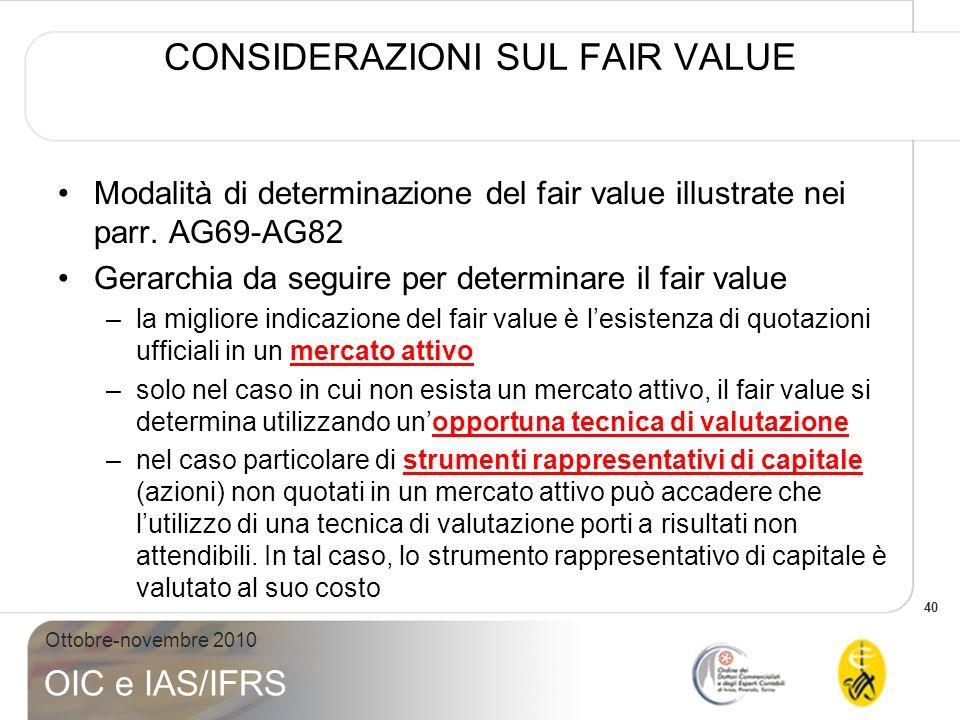 40 Ottobre-novembre 2010 OIC e IAS/IFRS CONSIDERAZIONI SUL FAIR VALUE Modalità di determinazione del fair value illustrate nei parr. AG69-AG82 Gerarch