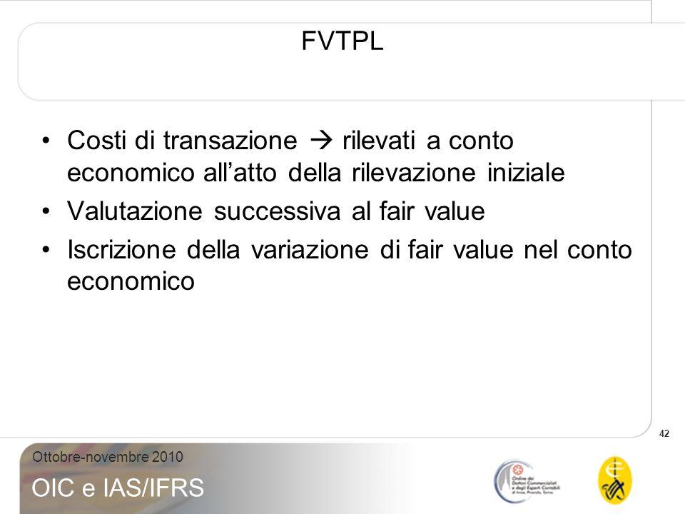 42 Ottobre-novembre 2010 OIC e IAS/IFRS FVTPL Costi di transazione rilevati a conto economico allatto della rilevazione iniziale Valutazione successiv