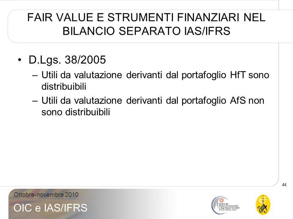 44 Ottobre-novembre 2010 OIC e IAS/IFRS FAIR VALUE E STRUMENTI FINANZIARI NEL BILANCIO SEPARATO IAS/IFRS D.Lgs. 38/2005 –Utili da valutazione derivant