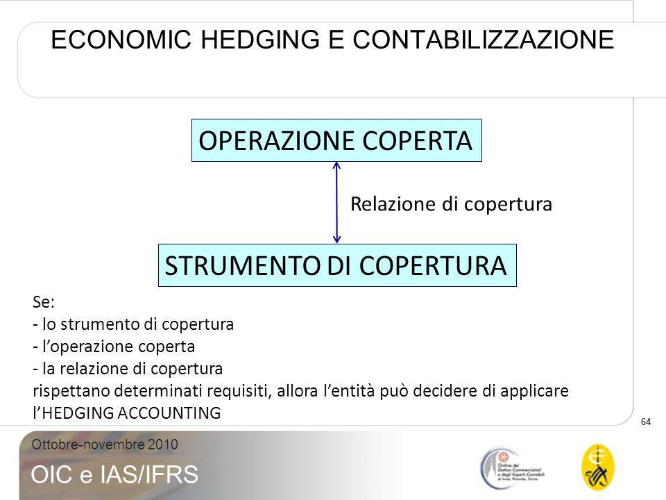 64 Ottobre-novembre 2010 OIC e IAS/IFRS ECONOMIC HEDGING E CONTABILIZZAZIONE OPERAZIONE COPERTA STRUMENTO DI COPERTURA Relazione di copertura Se: - lo