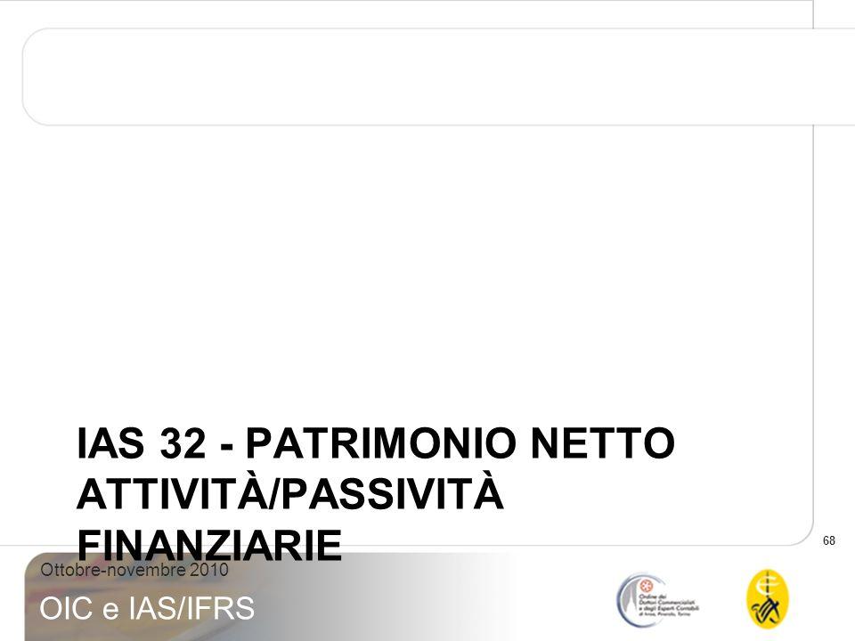 68 Ottobre-novembre 2010 OIC e IAS/IFRS IAS 32 - PATRIMONIO NETTO ATTIVITÀ/PASSIVITÀ FINANZIARIE