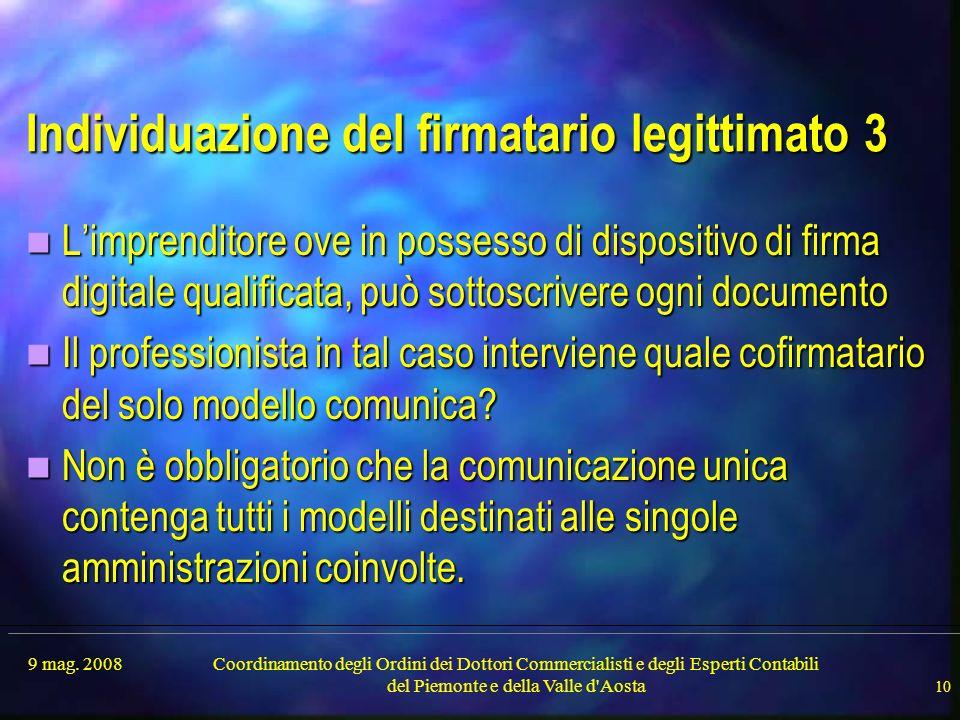 9 mag. 2008Coordinamento degli Ordini dei Dottori Commercialisti e degli Esperti Contabili del Piemonte e della Valle d'Aosta 10 Individuazione del fi