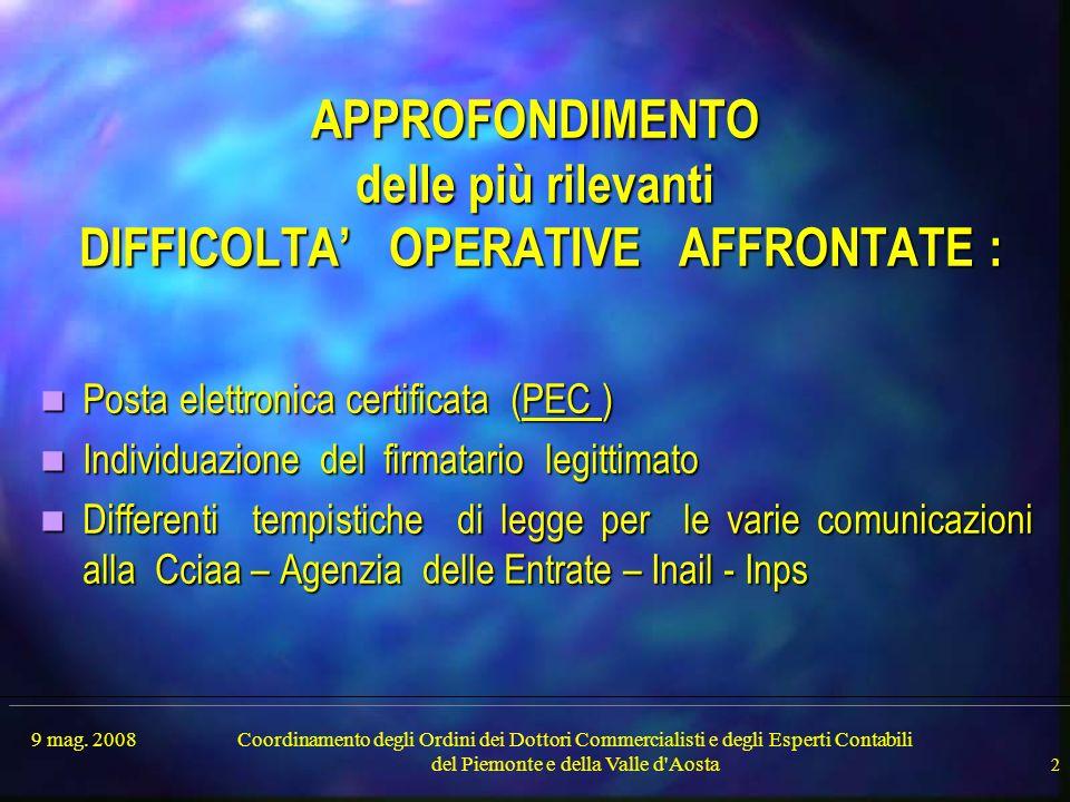 9 mag. 2008Coordinamento degli Ordini dei Dottori Commercialisti e degli Esperti Contabili del Piemonte e della Valle d'Aosta 2 APPROFONDIMENTO delle