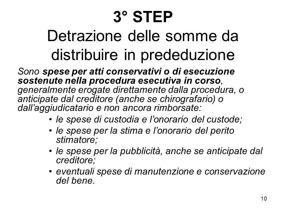 10 3° STEP Detrazione delle somme da distribuire in prededuzione Sono spese per atti conservativi o di esecuzione sostenute nella procedura esecutiva