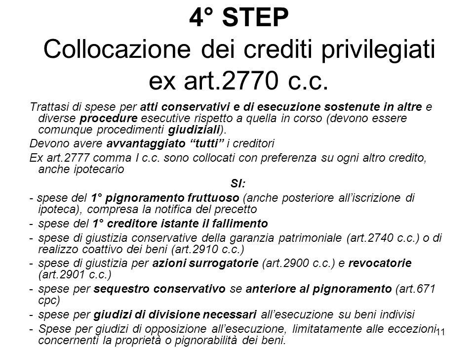 11 4° STEP Collocazione dei crediti privilegiati ex art.2770 c.c. Trattasi di spese per atti conservativi e di esecuzione sostenute in altre e diverse