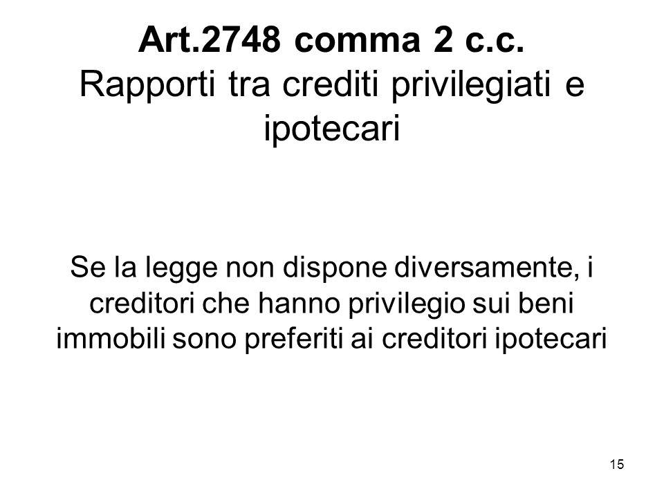 15 Art.2748 comma 2 c.c. Rapporti tra crediti privilegiati e ipotecari Se la legge non dispone diversamente, i creditori che hanno privilegio sui beni