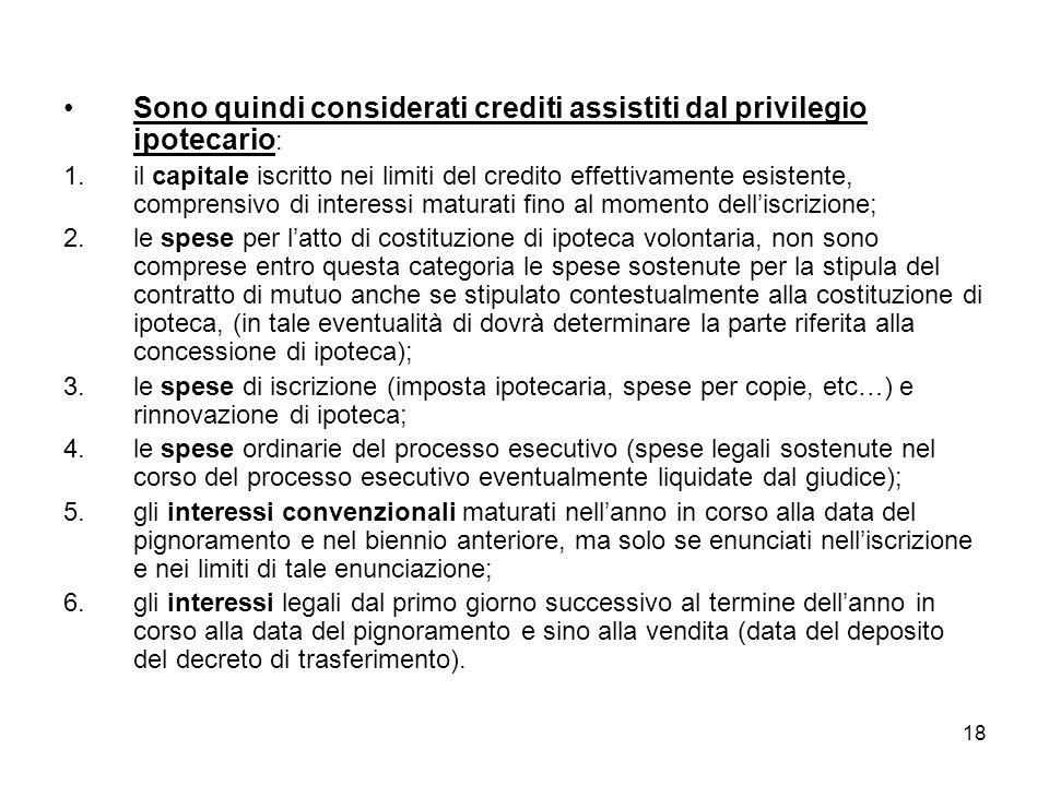 18 Sono quindi considerati crediti assistiti dal privilegio ipotecario : 1.il capitale iscritto nei limiti del credito effettivamente esistente, compr