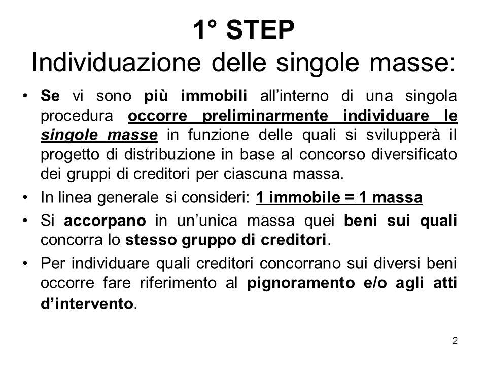 2 1° STEP Individuazione delle singole masse: Se vi sono più immobili allinterno di una singola procedura occorre preliminarmente individuare le singo