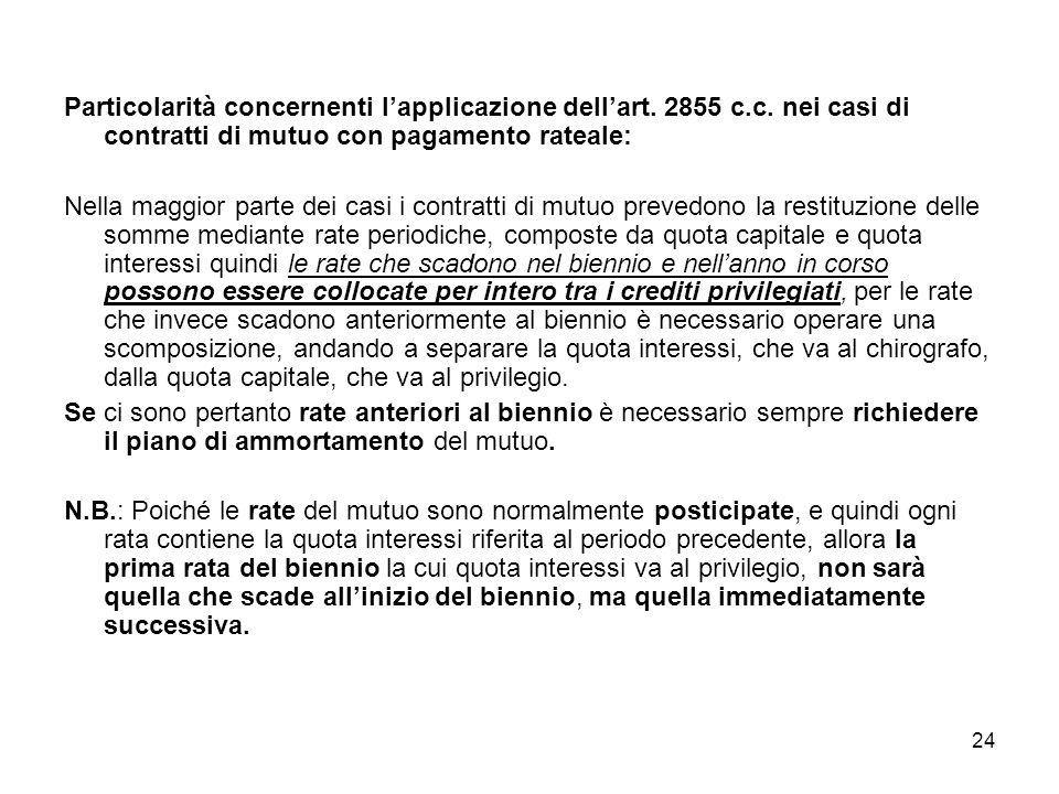 24 Particolarità concernenti lapplicazione dellart. 2855 c.c. nei casi di contratti di mutuo con pagamento rateale: Nella maggior parte dei casi i con