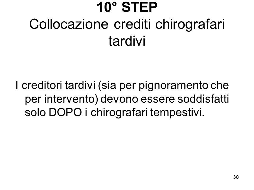 30 10° STEP Collocazione crediti chirografari tardivi I creditori tardivi (sia per pignoramento che per intervento) devono essere soddisfatti solo DOP