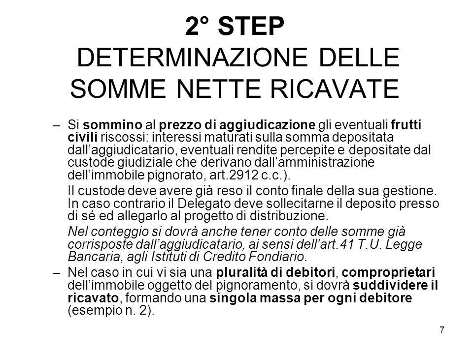7 2° STEP DETERMINAZIONE DELLE SOMME NETTE RICAVATE –Si sommino al prezzo di aggiudicazione gli eventuali frutti civili riscossi: interessi maturati s