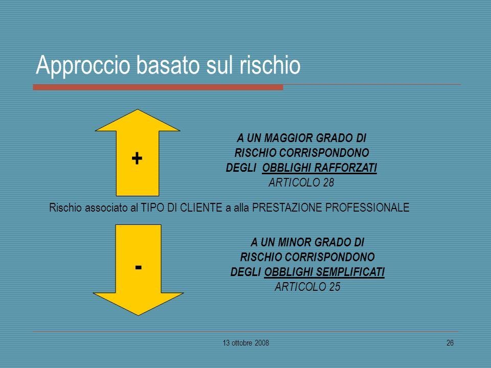 13 ottobre 200826 Approccio basato sul rischio + - A UN MAGGIOR GRADO DI RISCHIO CORRISPONDONO DEGLI OBBLIGHI RAFFORZATI ARTICOLO 28 A UN MINOR GRADO