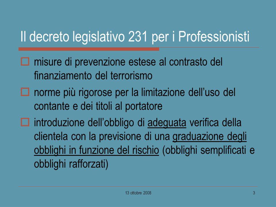 13 ottobre 20083 Il decreto legislativo 231 per i Professionisti misure di prevenzione estese al contrasto del finanziamento del terrorismo norme più