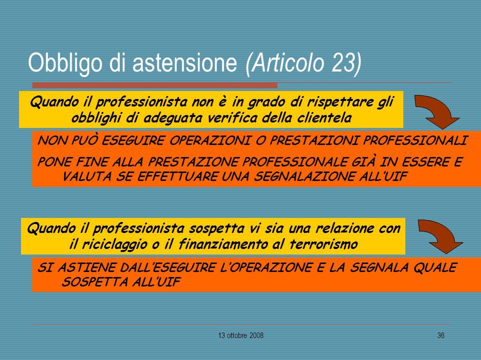 13 ottobre 200836 Obbligo di astensione (Articolo 23) NON PUÒ ESEGUIRE OPERAZIONI O PRESTAZIONI PROFESSIONALI PONE FINE ALLA PRESTAZIONE PROFESSIONALE