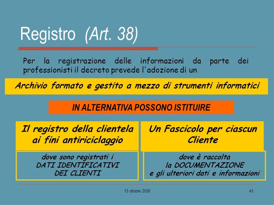 13 ottobre 200843 Registro (Art. 38) Per la registrazione delle informazioni da parte dei professionisti il decreto prevede l'adozione di un Un Fascic