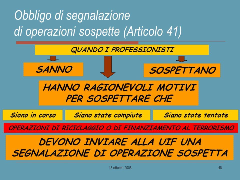 13 ottobre 200848 Obbligo di segnalazione di operazioni sospette (Articolo 41) QUANDO I PROFESSIONISTI SANNO HANNO RAGIONEVOLI MOTIVI PER SOSPETTARE C