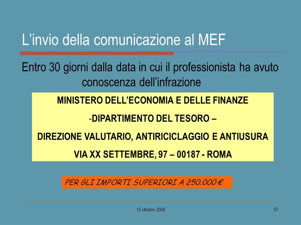 13 ottobre 200857 Linvio della comunicazione al MEF Entro 30 giorni dalla data in cui il professionista ha avuto conoscenza dellinfrazione MINISTERO D