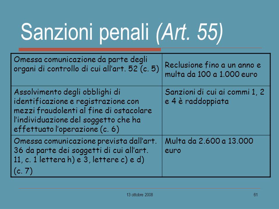 13 ottobre 200861 Sanzioni penali (Art. 55) Omessa comunicazione da parte degli organi di controllo di cui allart. 52 (c. 5) Reclusione fino a un anno