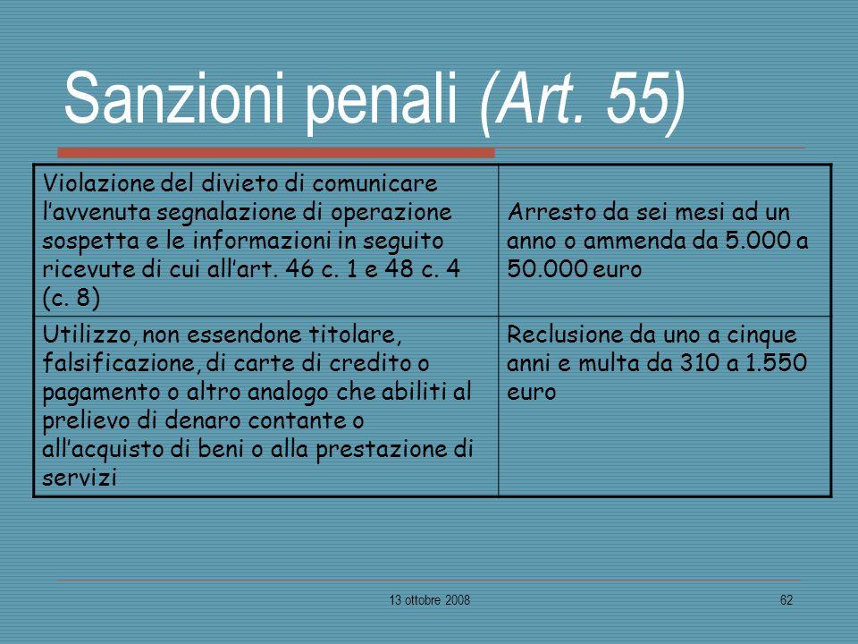 13 ottobre 200862 Sanzioni penali (Art. 55) Violazione del divieto di comunicare lavvenuta segnalazione di operazione sospetta e le informazioni in se