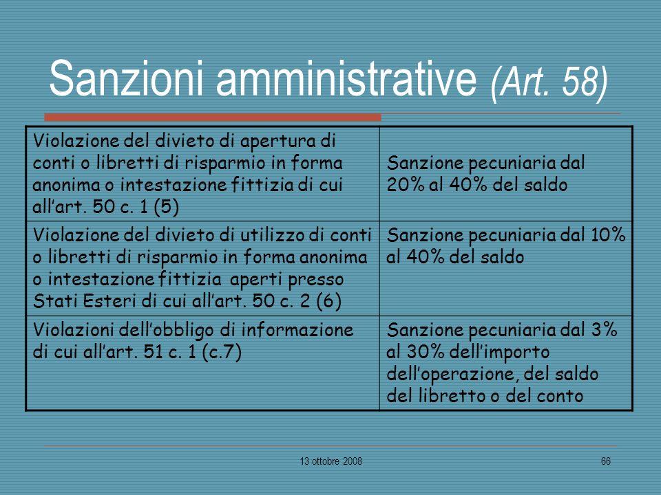 13 ottobre 200866 Sanzioni amministrative (Art. 58) Violazione del divieto di apertura di conti o libretti di risparmio in forma anonima o intestazion
