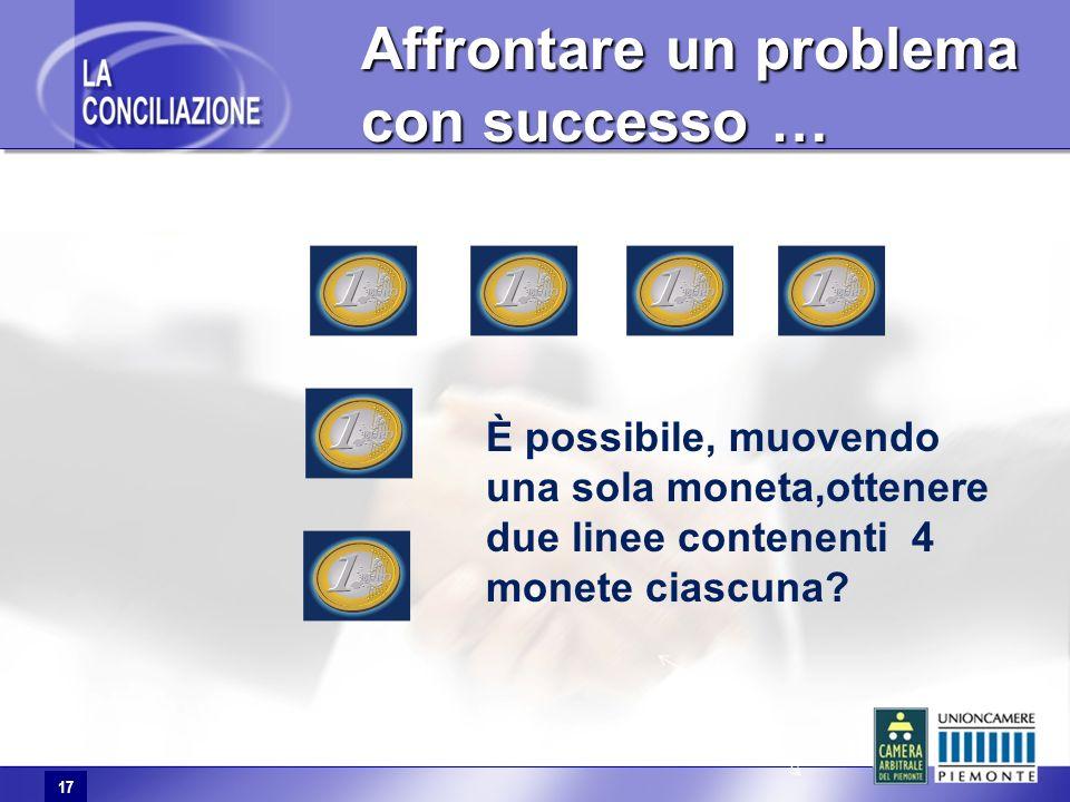 17 Affrontare un problema con successo … Affrontare un problema con successo … È possibile, muovendo una sola moneta,ottenere due linee contenenti 4 monete ciascuna