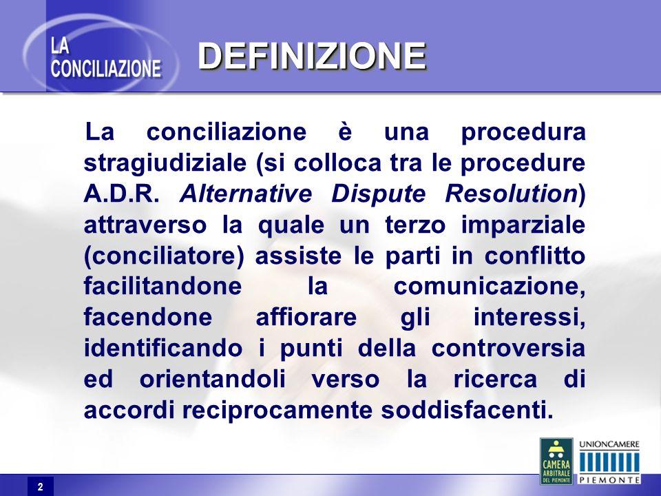 2 DEFINIZIONEDEFINIZIONE La conciliazione è una procedura stragiudiziale (si colloca tra le procedure A.D.R.