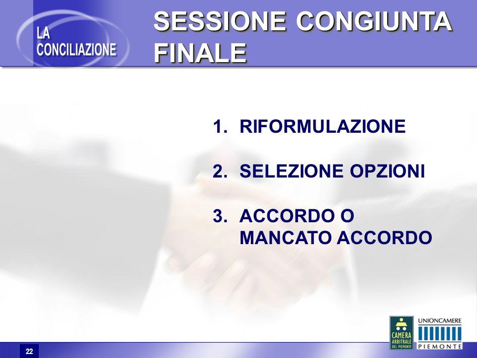 22 SESSIONE CONGIUNTA FINALE 22 1.RIFORMULAZIONE 2.SELEZIONE OPZIONI 3.ACCORDO O MANCATO ACCORDO