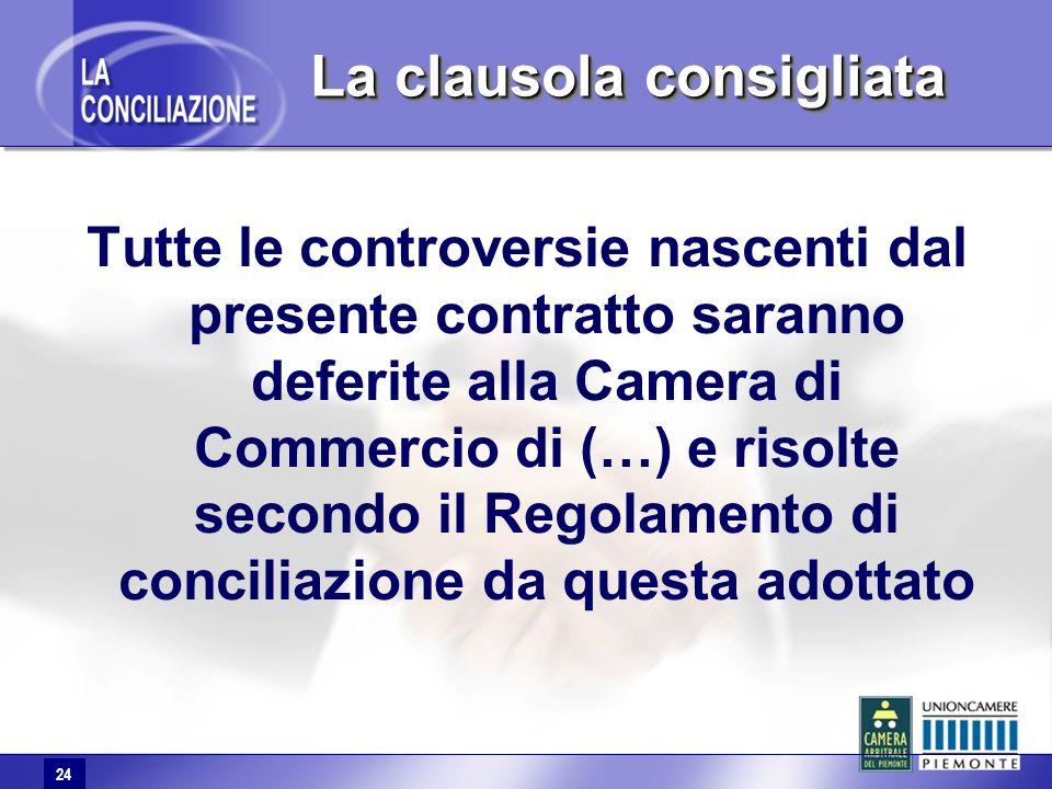 24 Tutte le controversie nascenti dal presente contratto saranno deferite alla Camera di Commercio di (…) e risolte secondo il Regolamento di conciliazione da questa adottato La clausola consigliata 24