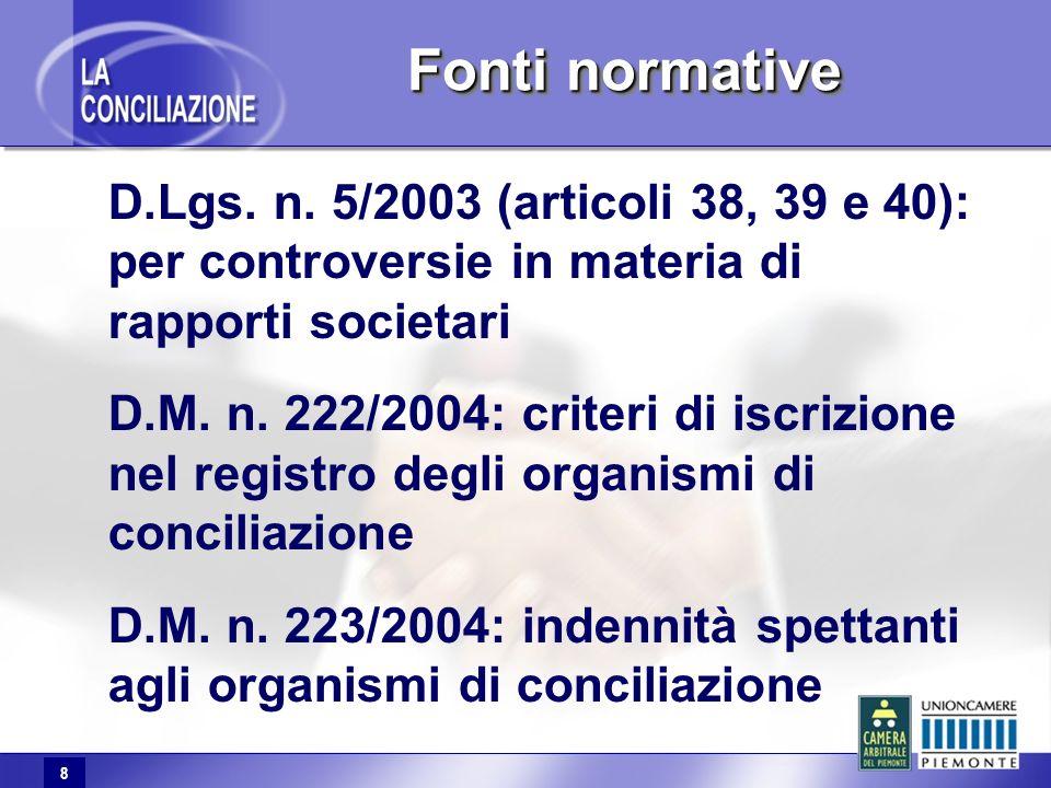 8 Fonti normative D.Lgs. n. 5/2003 (articoli 38, 39 e 40): per controversie in materia di rapporti societari D.M. n. 222/2004: criteri di iscrizione n