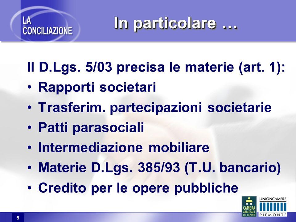 9 In particolare … Il D.Lgs. 5/03 precisa le materie (art. 1): Rapporti societari Trasferim. partecipazioni societarie Patti parasociali Intermediazio