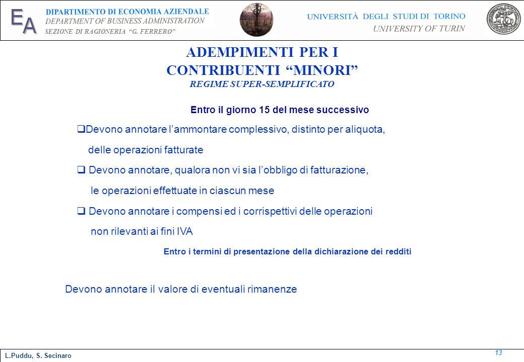 E A SEZIONE DI RAGIONERIA G. FERRERO 13 L.Puddu, S. Secinaro ADEMPIMENTI PER I CONTRIBUENTI MINORI REGIME SUPER-SEMPLIFICATO Entro il giorno 15 del me
