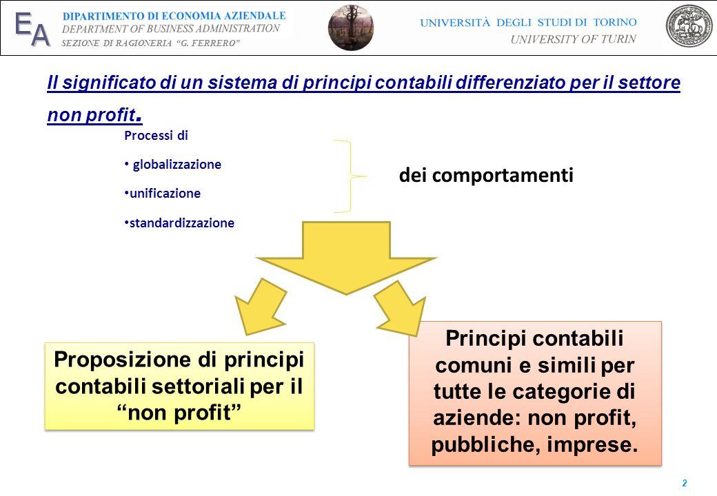 E A SEZIONE DI RAGIONERIA G. FERRERO 2 Il significato di un sistema di principi contabili differenziato per il settore non profit. Processi di globali
