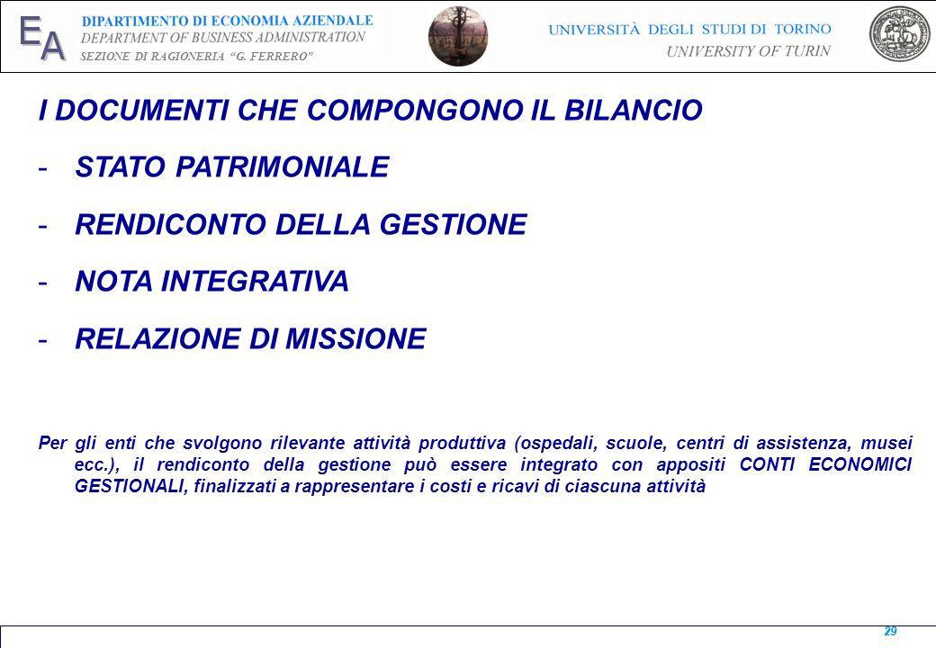 E A SEZIONE DI RAGIONERIA G. FERRERO 29 I DOCUMENTI CHE COMPONGONO IL BILANCIO -STATO PATRIMONIALE -RENDICONTO DELLA GESTIONE -NOTA INTEGRATIVA -RELAZ