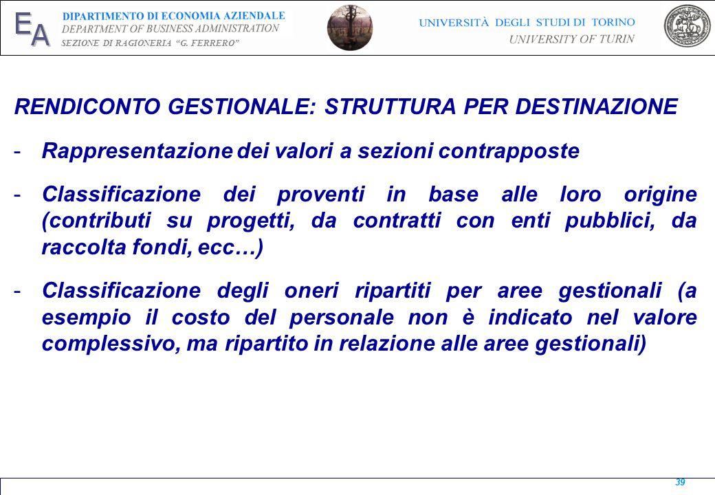 E A SEZIONE DI RAGIONERIA G. FERRERO 39 RENDICONTO GESTIONALE: STRUTTURA PER DESTINAZIONE -Rappresentazione dei valori a sezioni contrapposte -Classif