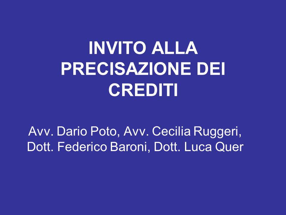 INVITO ALLA PRECISAZIONE DEI CREDITI Avv. Dario Poto, Avv. Cecilia Ruggeri, Dott. Federico Baroni, Dott. Luca Quer