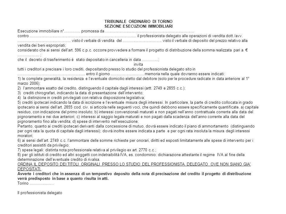 TRIBUNALE ORDINARIO DI TORINO SEZIONE ESECUZIONI IMMOBILIARI Esecuzione immobiliare n°..............