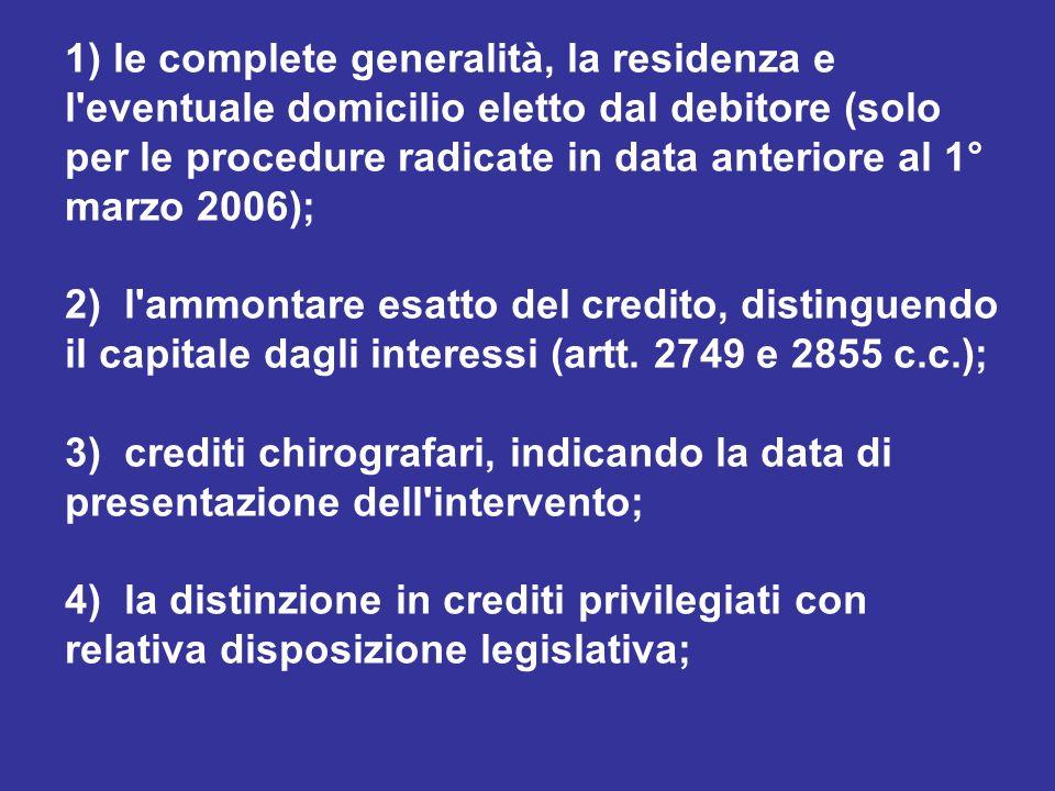 1) le complete generalità, la residenza e l'eventuale domicilio eletto dal debitore (solo per le procedure radicate in data anteriore al 1° marzo 2006