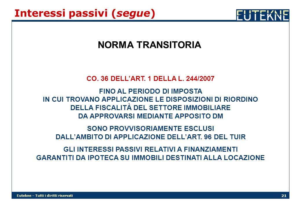 Eutekne – Tutti i diritti riservati 21 NORMA TRANSITORIA CO.