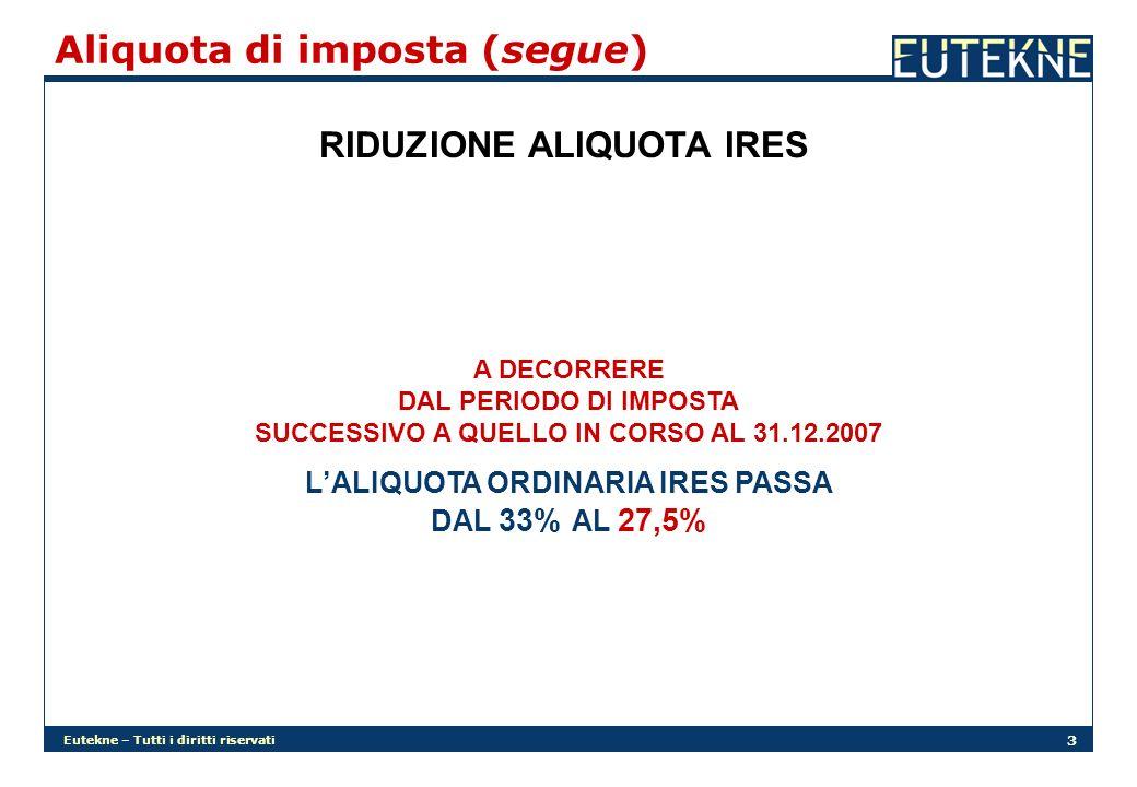Eutekne – Tutti i diritti riservati 14 Interessi passivi (segue) NUOVO MECCANISMO LIMITATIVO A DECORRERE DAL PERIODO DI IMPOSTA SUCCESSIVO A QUELLO IN CORSO AL 31.12.2007 LINTEGRALE RIFORMULAZIONE DELLART.