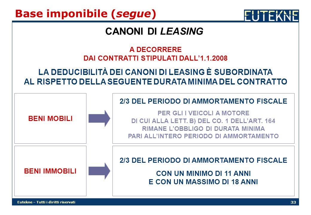Eutekne – Tutti i diritti riservati 33 Base imponibile (segue) CANONI DI LEASING A DECORRERE DAI CONTRATTI STIPULATI DALL1.1.2008 LA DEDUCIBILITÀ DEI CANONI DI LEASING È SUBORDINATA AL RISPETTO DELLA SEGUENTE DURATA MINIMA DEL CONTRATTO BENI MOBILI BENI IMMOBILI 2/3 DEL PERIODO DI AMMORTAMENTO FISCALE PER GLI I VEICOLI A MOTORE DI CUI ALLA LETT.