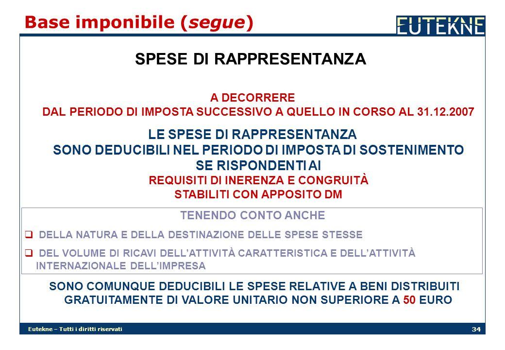 Eutekne – Tutti i diritti riservati 34 Base imponibile (segue) SPESE DI RAPPRESENTANZA A DECORRERE DAL PERIODO DI IMPOSTA SUCCESSIVO A QUELLO IN CORSO